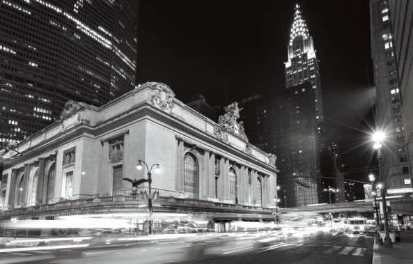 Busy traffic and Grand Central Station at night, New York, USA