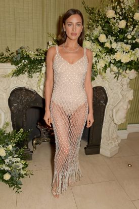 LONDON, ENGLAND - FEBRUARY 02: Irina Shayk wearing Tiffany & Co. attends the British Vogue and Tiffany & Co. Fashion and Film Party at Annabel's on February 2, 2020 in London, England. (Photo by David M. Benett/Dave Benett/Getty Images)