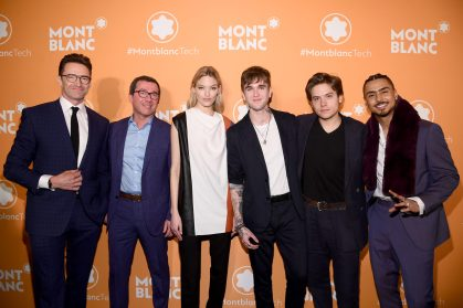 NEW YORK, NEW YORK - MARCH 10: (L-R) Hugh Jackman, Sylvain Costof, Martha Hunt, Gabriel-Kane Day-Lewis, Dylan Sprouse, and Quincy Brown attend as Montblanc celebrates the launch of MB 01 Headphones & Summit 2+ at World of McIntosh on March 10, 2020 in New York City. (Photo by Dimitrios Kambouris/Getty Images for Montblanc)