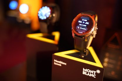 NEW YORK, NEW YORK - MARCH 10: Summit 2+ watch are seen on display as Montblanc celebrates the launch of MB 01 Headphones & Summit 2+ at World of McIntosh on March 10, 2020 in New York City. (Photo by Sean Zanni/Getty Images for Montblanc)