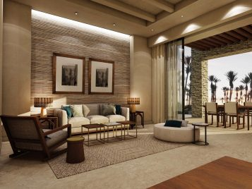 Anantara Tozeur One Bedroom Suite living area rendering