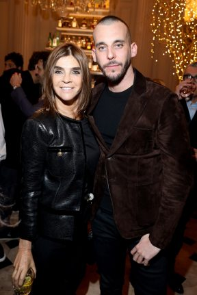 PARIS, FRANCE - FEBRUARY 29: Carine Roitfeld and Vladimir Restoin attend the Monot show as part of the Paris Fashion Week Womenswear Fall/Winter 2020/2021 on February 29, 2020 in Paris, France. (Photo by Victor Boyko/Getty Images)
