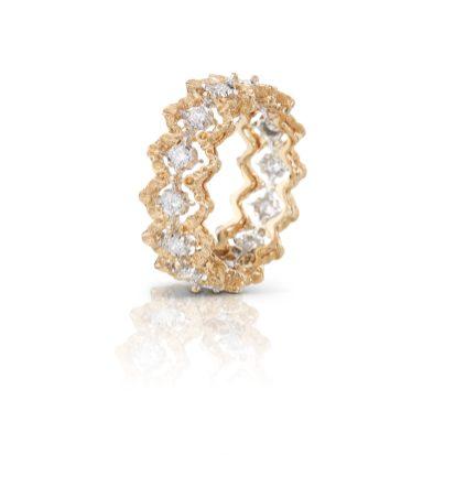 Bague Buccellati collection mini rombi or jaune gravé et diamants, prix sur demande