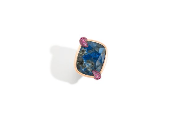 Denim Lapis Lazuli ring in rose gold with lapis lazuli and rubies 100% SUSTAINABLE by Pomellato_1