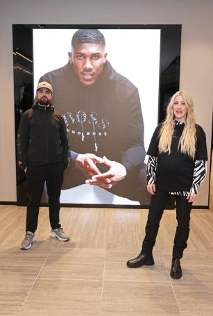 LONDON, ENGLAND - FEBRUARY 24: (EXCLUSIVE FOR EVENING STANDARD) Allan Mustafa aka MC Grindah of of Kurupt FM and Ellie Goulding attend the unveiling of the BOSS x AJBXNG second capsule collection at BOSS Store, Regent Street, on February 24, 2021 in London, England. Pic Credit: Dave Benett
