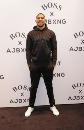 LONDON, ENGLAND - FEBRUARY 24: Anthony Joshua attends the unveiling of the BOSS x AJBXNG second capsule collection at BOSS Store, Regent Street, on February 24, 2021 in London, England. Pic Credit: Dave Benett