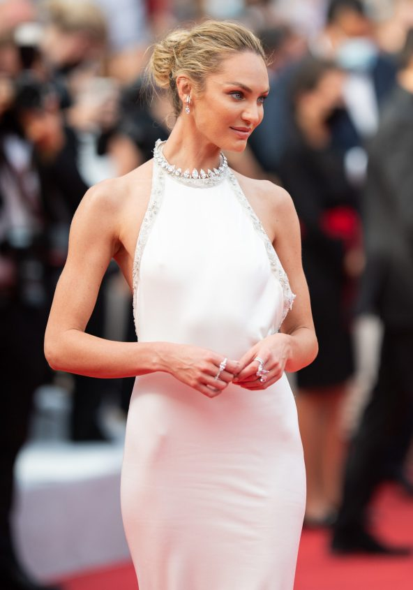 """CANNES, FRANCE - JULY 07: Candice Swanepoel attends the """"Tout S'est Bien Passe (Everything Went Fine)"""" screening during the 74th annual Cannes Film Festival on July 07, 2021 in Cannes, France. (Photo by Samir Hussein/WireImage)"""