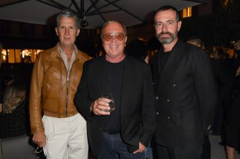 MILAN, ITALY - SEPTEMBER 23: Stefano Tonchi, Michael Kors and Giampietro Baudo are seen at Michael Kors intimate Cocktail Party in Celebration of his 40th Anniversary on September 23, 2021 in Milan, Italy. (Photo by Jacopo M. Raule/Getty Images for Michael Kors)