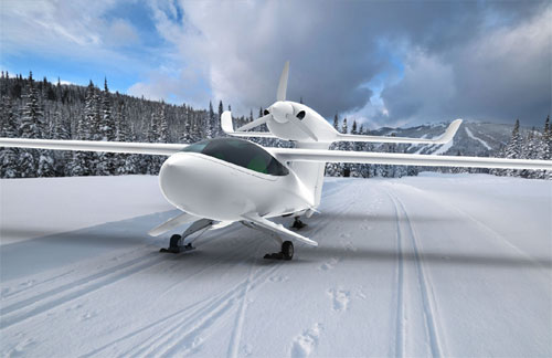 A revolutionary system allows the Akoya to land with the same comfort on land; water or snow without altering performance
