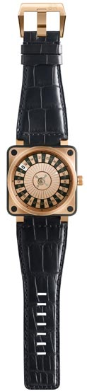 Bell & Ross BR01 Casino. Square PVD-coated and 18K pink gold wristwatch