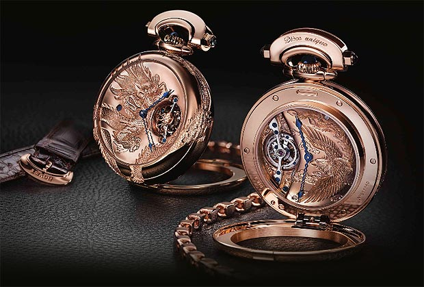 Bovet Amadeo Convertible 7-Day Tourbillon Dragon & Phoenix. Artisan engraved 18K red gold, double-dialed, convertible into a wristwatch, a table clock, and a pocket watch.