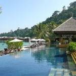 The wonderful infinity pool at Spa Village