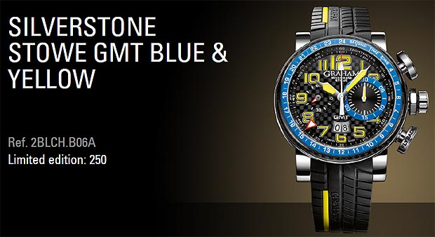 Graham London Silverstone Stowe GMT Chronograph watch in Blue and Yellow