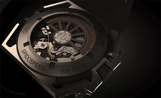 The Linde Werdelin SpidoSpeed Black Orange Chronograph wrist watch 100A