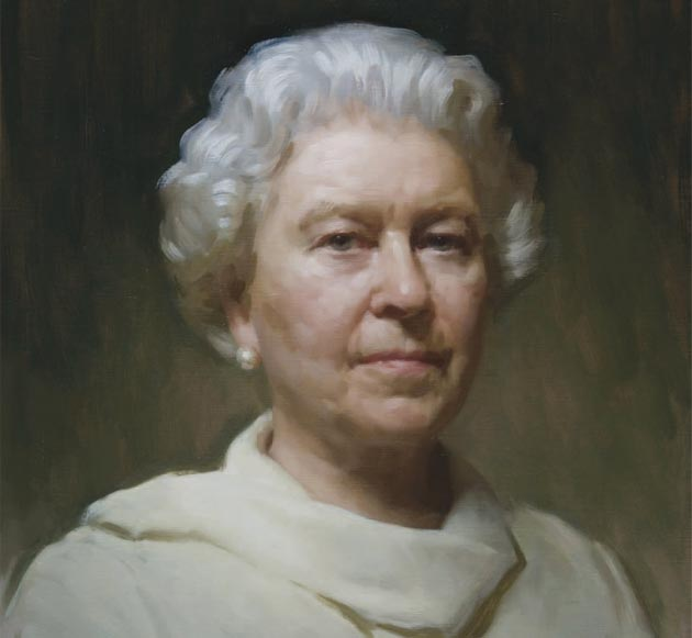 HM Queen Elizabeth II by Rupert Alexander, a figurative painter specialising in portraiture. Born in London in 1975, he studied at the Chelsea College of Art. He was awarded a QEST scholarship at the age of 21 and used it to further his study at the Florence Academy of Art and Charles Cecil Studios.