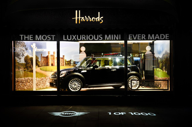MINI Inspired by Goodwood Limited Edition in prime position in Harrods of London window.