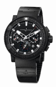 The Ulysse Nardin Black Sea Chronograph offers a commanding presence and unfaltering reliability.