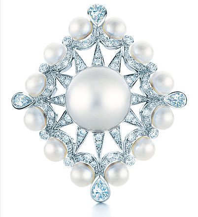 Tiffany ring with cultured South Sea pearls and diamonds in 18 karat white gold Photo Credit: Carlton Davis