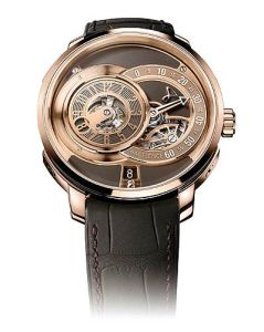 The Hautlence rose gold HLC06 watch, a 41mm elegant rounded watch limited to 88 pieces.