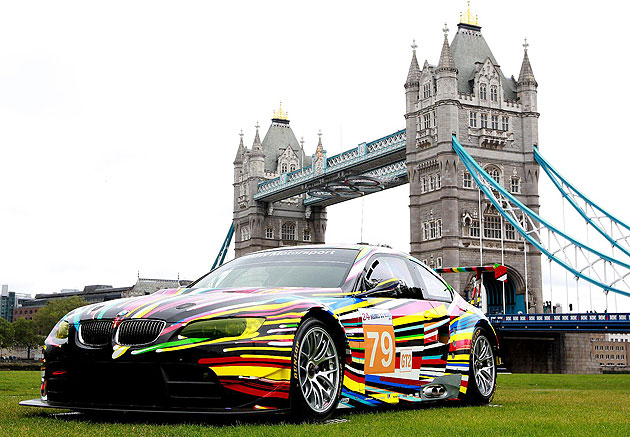 The Warhol, Lichtenstein, Koons and Hockney BMW art cars at free Art Drive exhibition in London.
