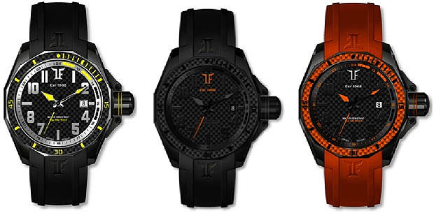 T-Fun Collection, colourful and bang-on-trend watches, genuine carbon finish.