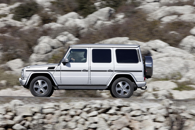 "The new Mercedes Benz G-Class has increased levels of standard equipment including new LED daytime running lights and a reworked interior that, for the first time, is fitted with COMAND Online. Also fitted as standard is Parktronic, an audio and visual parking aid and new leather upholstery in conjunction with heated front and rear seats. A new design of 18"" five-spoke alloy wheels, electric folding and heated mirrors, instrument cluster with colour display and a mighty Harman Kardon® Logic 7® surround sound audio system complete the changes."