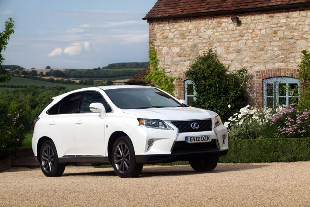 "The new Lexus RX 450h F Sport is the first RX to adopt sportier styling and handling. It's easily distinguished frrom the rest of the range with its stronger exterior styling, in particular the treatment of the new Lexus ""spindle"" grille design, and its 10-spoke F Sport alloys. Interior features include sports pedals, aluminium-effect trim inserts and scuff plates, smooth leather upholstery, an F Sport steering wheel, head-up display and a black roof lining. It also gains LED headlamps with Lexus's I-AFS adaptive system, turning the light beam in line with the vehicle's steering angle."