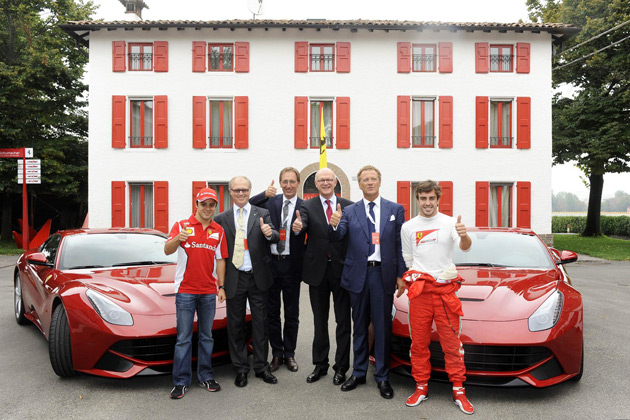 A special surprise awaited winners Massimo Re Fraschini and Franz-Josef Kortüm at the end of the ceremony when Fernando Alonso and Felipe Massa gave them a taste of the power of Maranello's latest model, the F12berlinetta, over several laps of the Fiorano Circuit