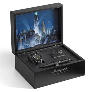 In addition to the pens being offered for individual sale, there will be 500 sets that also include cufflinks and a wristwatch. These are exclusive to the box sets. The cufflinks are jet-black representations of the Batman logo in three dimensions, with the bat shape cut out to expose a surface of carbon fibre. The folding grip carries the Montegrappa name.