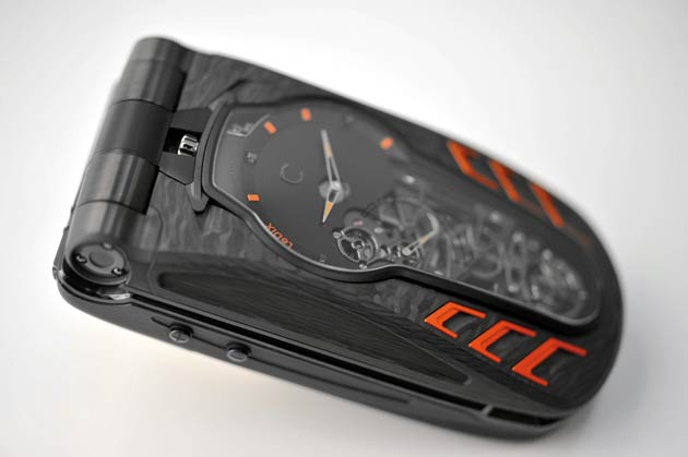 Celsius X VI II raises the cellphone to the rank of objet d'art. LeDix Furtif, the first mechanical mobile phone with a flying tourbillon and the brand's signature 'Remontage Papillon' winding system, further enhances the technical and aesthetic feat already achieved.