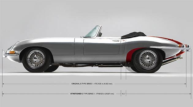 A 1968 left hand drive Jaguar E-Type series 1 4.2 roadster is to be stretched by four and a half inches during a major restoration being carried out by Classic Motor Cars Limited of Bridgnorth (CMC) in the United Kingdom.