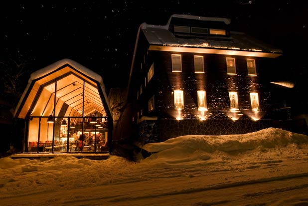 Located on Japan's island of Hokkaido in the popular ski destination Niseko lies the quaint Kimamaya Boutique Hotel. With just nine rooms created by designer Andrew Bell, the hotel captures the essence of the mountainous atmosphere and combines it with a cosmopolitan flair. The core of the main lodge is the timber-floored Living Lounge, where guests can mix and mingle, curl up with a good book or sip on vintage wines from owner Nicolas Gontard's own vineyard in France by a flickering fireplace.