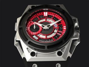 The watch will be limited to just 75 pieces, this version contains an attractive red coloured dial with black DLC details. The watch is ideal for high altitude sports with a tough skeletonised titanium case, carefully designed to provide maximum weight reduction.