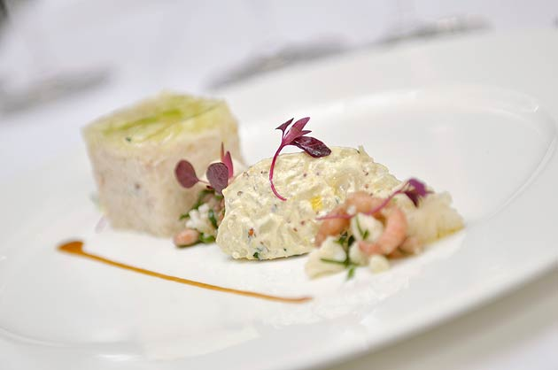 Hand picked Devon Crab and Marjoram, brown shrimp and cauliflower remoulade