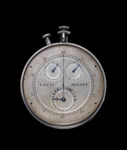 "This timepiece is of an entirely original design and evidently the work of a master watchmaker well ahead of his time. The timepiece measured events to the sixtieth of a second (known in those days as a ""third"" or tierce in French), indicated by a central hand. The elapsed seconds and minutes are recorded on separate sub dials, and the hours on a 24-hour dial."