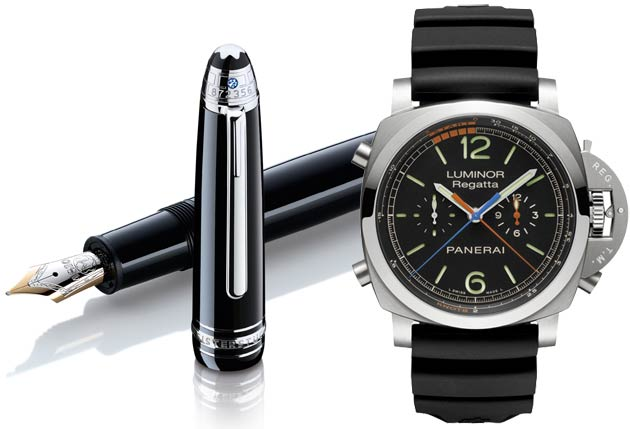Montblanc Signature for Good Classique fountain pen and Panerai Luminor Regatta 3 Days Chrono Flyback Titanio - 47mm timepiece (PAM00526)