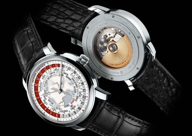 "The back of this unique Patrimony Traditionnelle World Time is engraved with the inscription ""Only Watch 2013, Pièce unique"", a celebration of the Only Watch event"