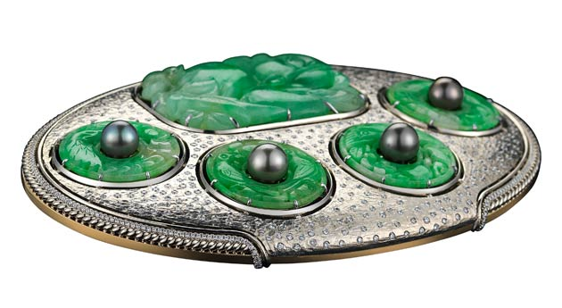 Alexandra Mor 18K White and Yellow Gold Belt Buckle with Antique Jade, Diamonds & Baroque Pearls