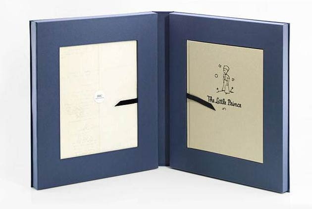 The unique watch in platinum with a midnight blue dial will be auctioned together with a limited re-edition of the first printed copy of The Little Prince in English and a facsimile of the original manuscript in French.