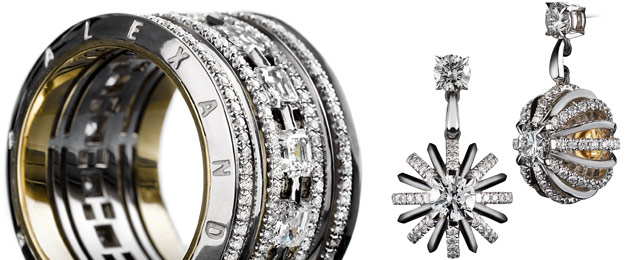 Wide Asscher-Cut Diamond Eternity Band and Dangling Snowflake Diamond Earrings