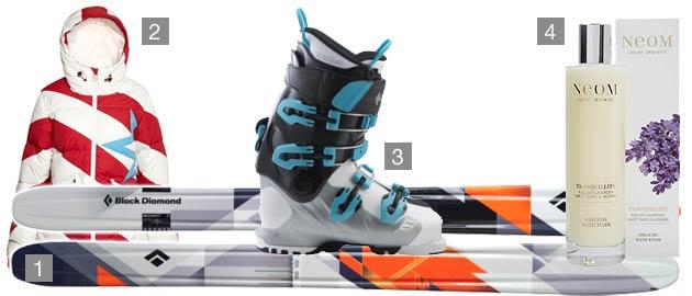 1. Black Diamond Megawatt Skis, 2. Perfect Moment Super Day Ski Jacket, 3. Black Diamond Factor MX Women's Ski Boots in Shiva, 4. Neom Tranquility Organic Bath Foam