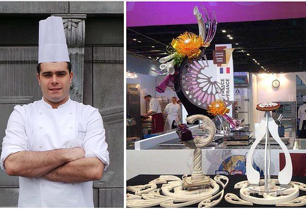 Gaëtan Fiard, Head Station Chef at the Michelin starred Le Diane restaurant, triumphs at the Mondial Des Arts Sucrés 2014 with teammate Johanna Le Pape