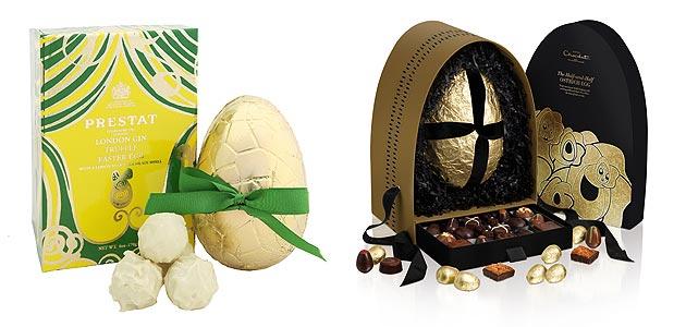 LR: Prestat: London Gin Truffle Easter Egg and Hotel Chocolat: Half & Half Ostrich Egg