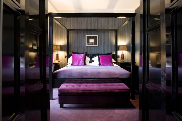 The bedrooms are definitely designed with the adult in mind with its sultry mix of dark wood and opulent fabrics.