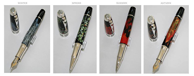 A series of unique hand painted pieces for Montegrappa of Italy titled 'The Four Seasons'