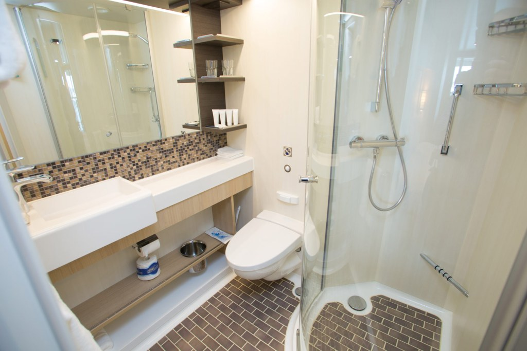 Stateroom bathroom on the Anthem of the Seas