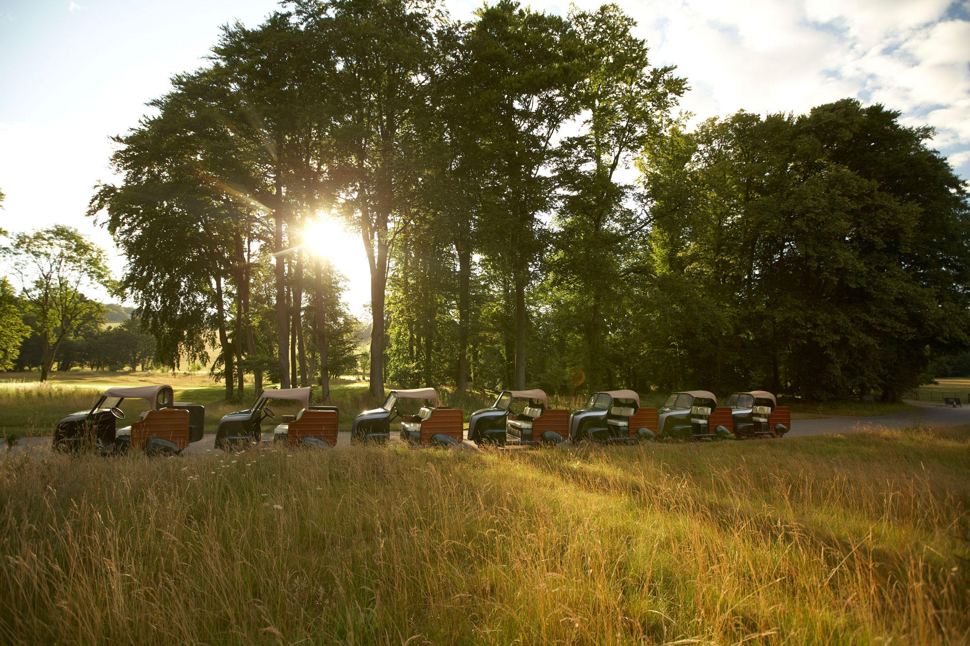 The luxurious Woody 2 golf buggies at Golf at Goodwood