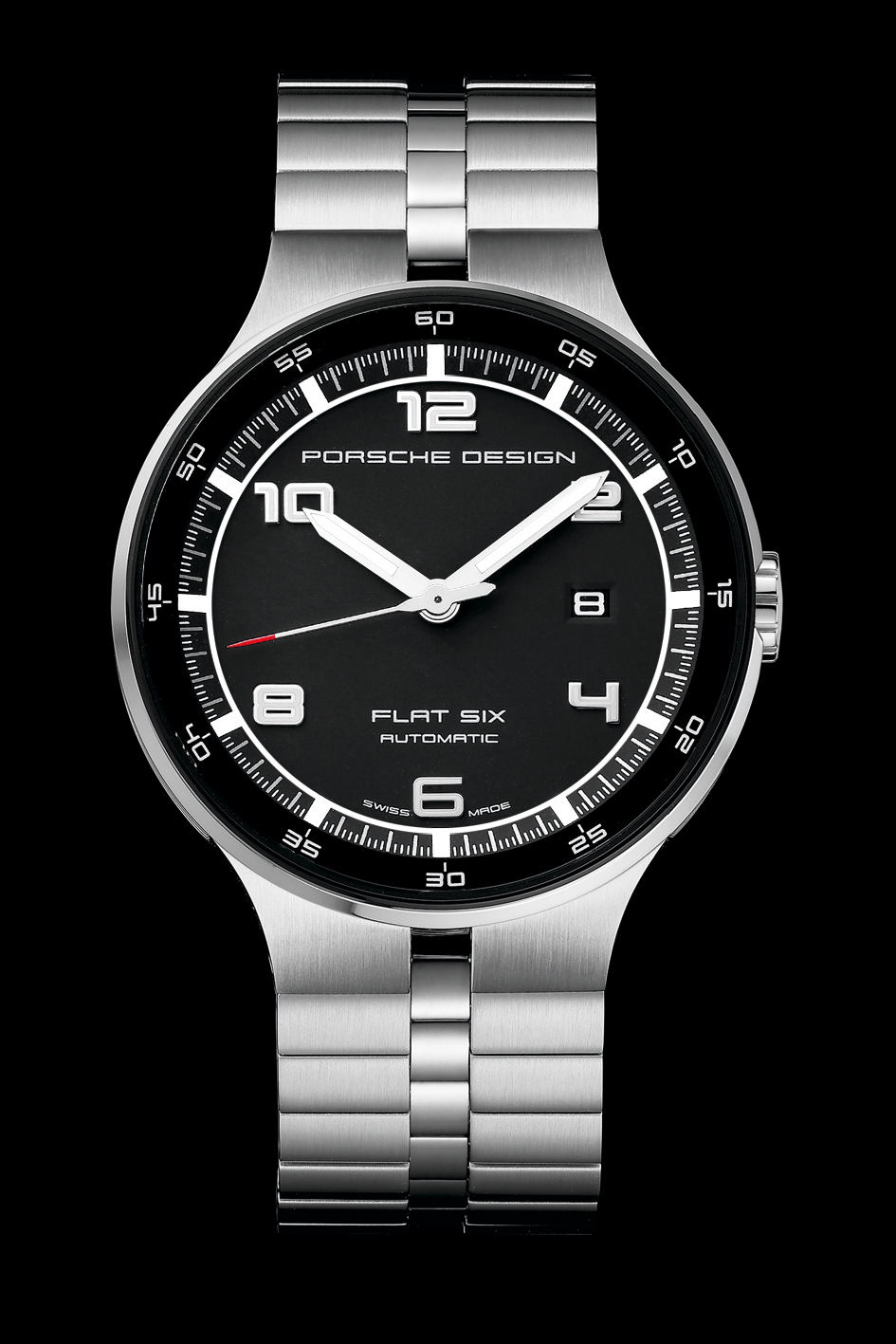 Porsche Design P'6350 Flat Six Automatic 44 timepiece. Iconic style. A puristic timepiece, uniquely interpreted.