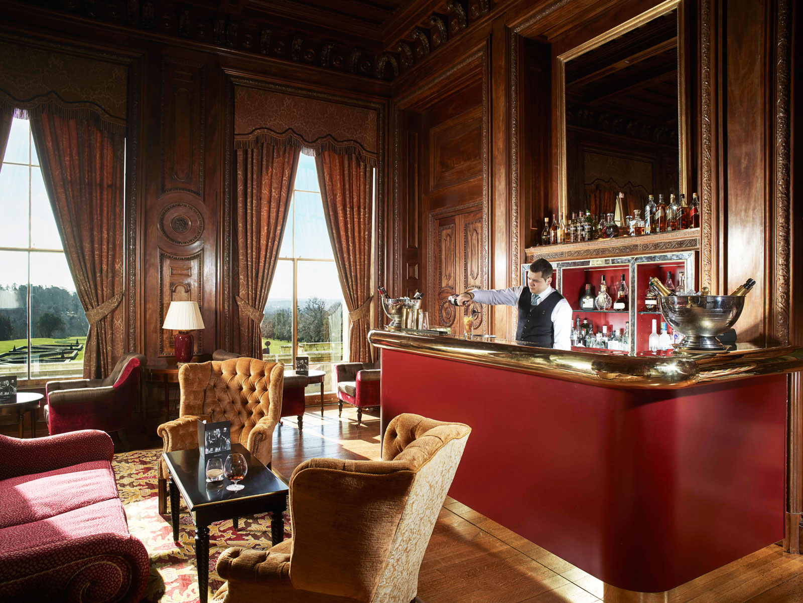 Library and bar at Cliveden House Hotel