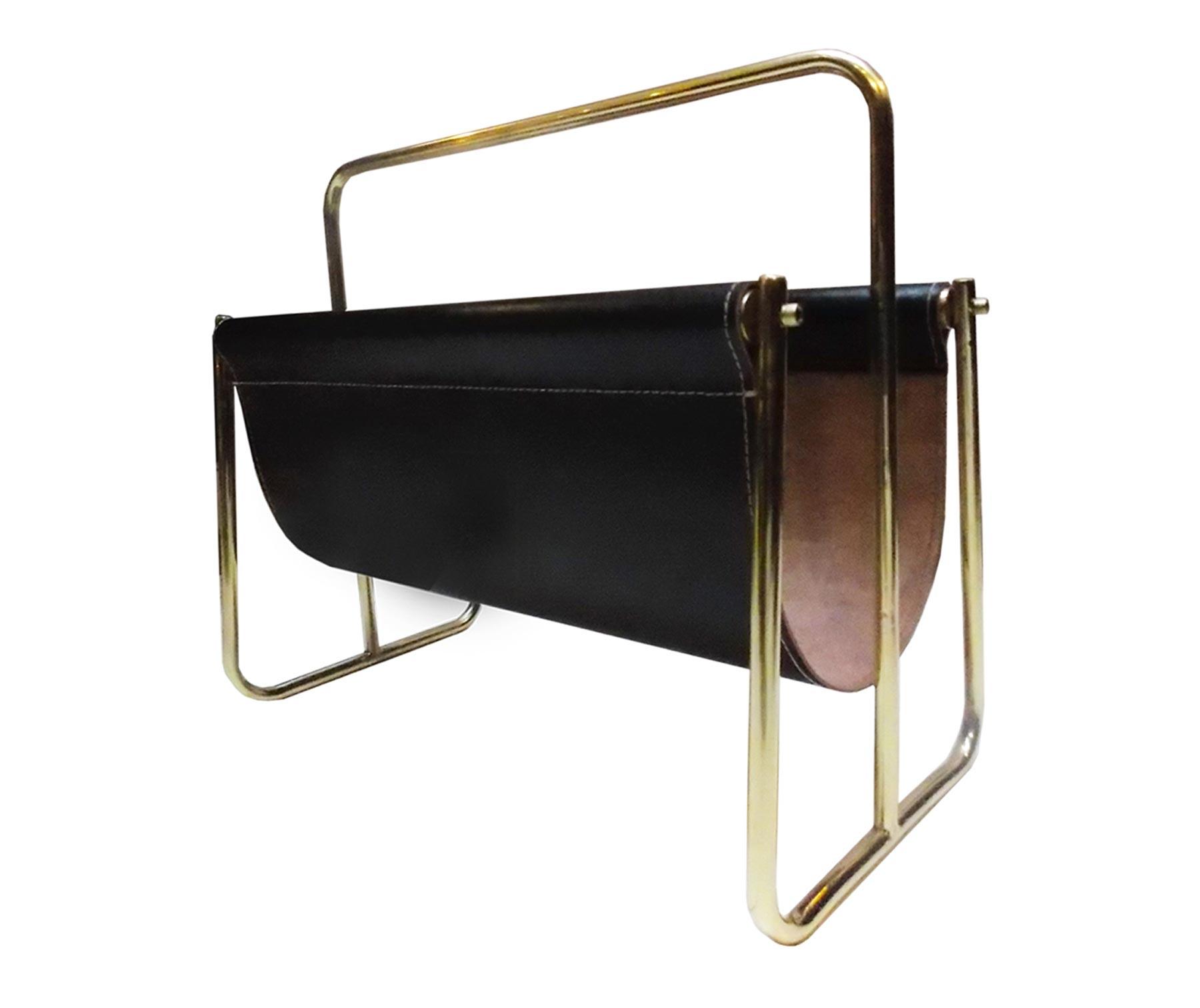Mufti Havana leather and brass magazine rack